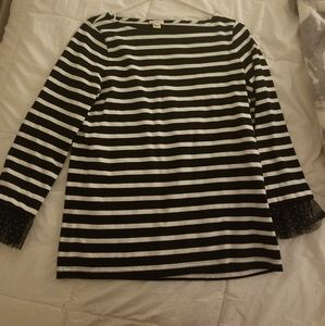 JCrew size XS long sleeve with tulle cuff striped